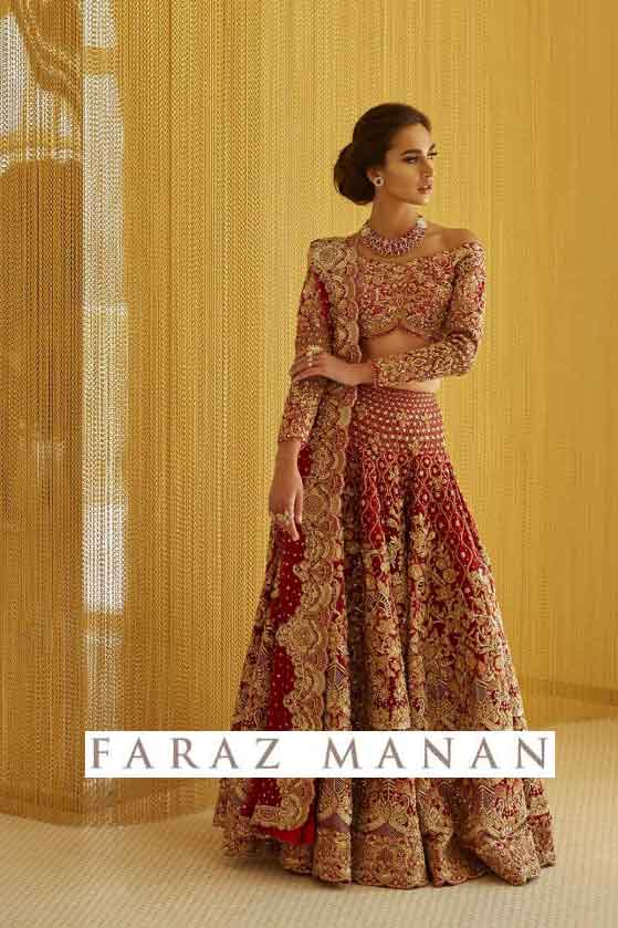 Maharani Bridal is one of a kind heirloom bridal from Faraz Manan 'Rouge' collection . Crafted with traditional zardozi and indegeneous marori work along with swarovskis UK USA Dubai