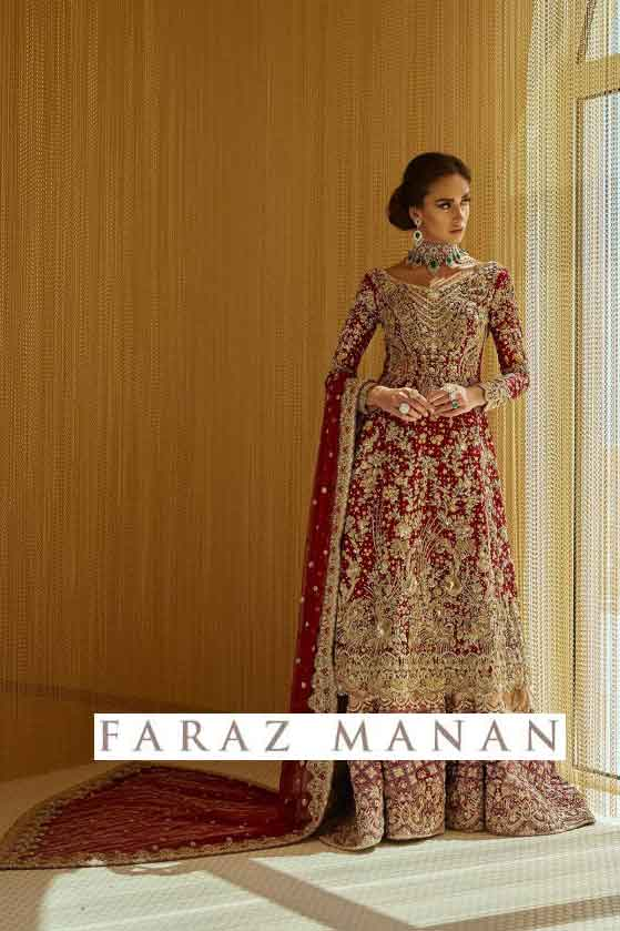 faraz manan red bridal dress